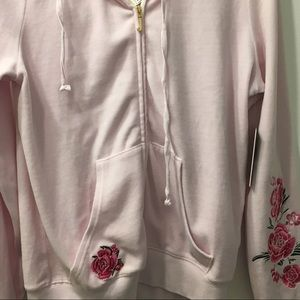 Juice couture black label pink embroidered hoodie